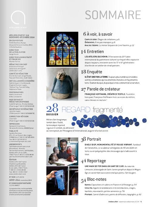 Magazine Atelier d'Art France - Nov-dec 2014
